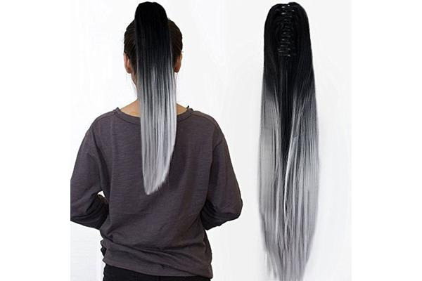 "Two Tone Ombre High Grade Silver Gray Straight Clip On Pony Tail 24"" Hair Clamp"