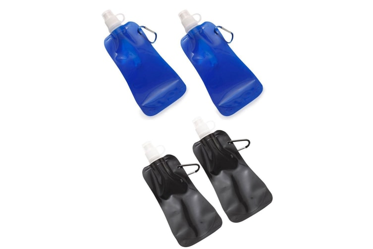 4x Doozie 450ml Collapsible Camping Water Drink Bottle Gym Sport Kid Blue Black