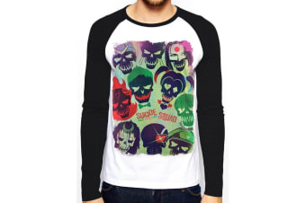 Suicide Squad Adults Unisex Adults Poster Baseball Shirt (Black/White)