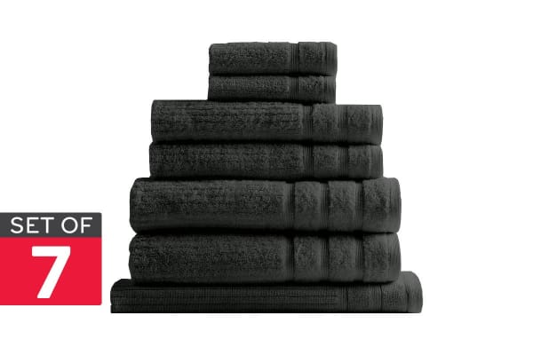 Royal Comfort Set of 7 Eden Egyptian Cotton 600 GSM Towel Pack (Granite)