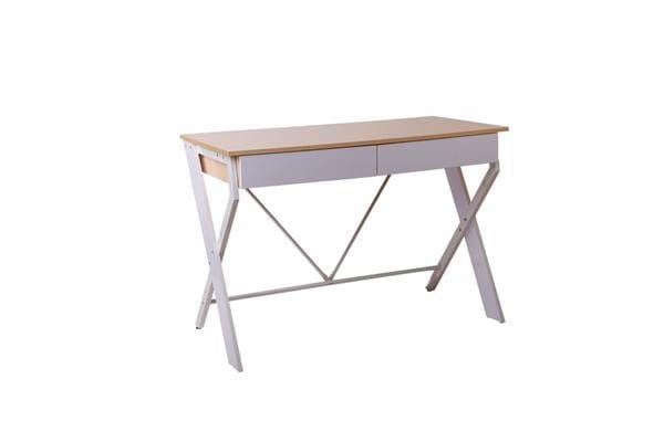 Artiss Metal Desk with Drawer (White) with Oak Top