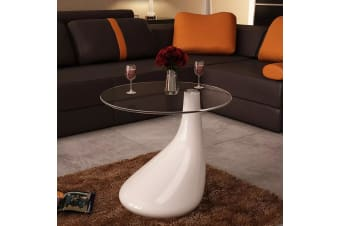 vidaXL Coffee Table with Round Glass Top High Gloss White