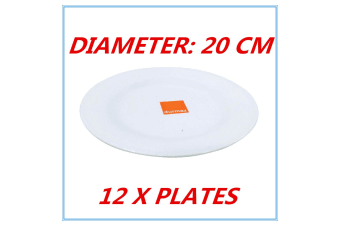 12 x 20cm Melamine Round Plate Birthday Wedding Party Dinner White Cafe Snack Dish