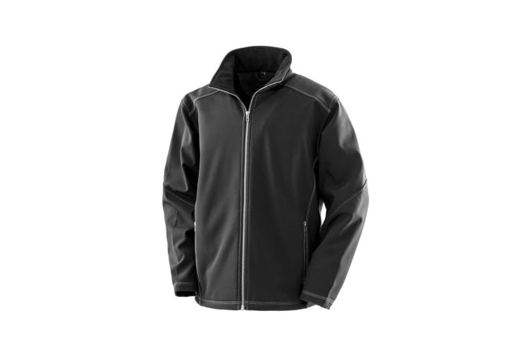 Result Work-Guard Mens Treble Stitch Soft Shell Jacket (Black) (S)