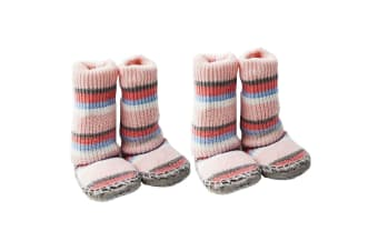 2PK Playette Slipper Socks/Shoes/Boots 18-24M Pink Stripes Girls/Baby/Toddler