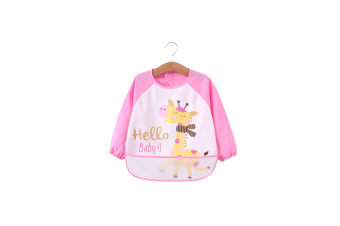 Long Sleeved Baby Bibs Waterproof Sleeved Bib - Light Pink Pink 90