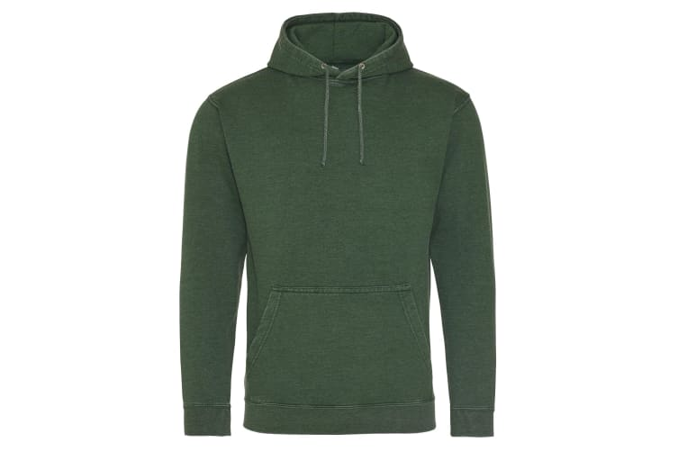 AWDis Hoods Adults Unisex Washed Look Hoodie (Washed Bottle Green) (S)