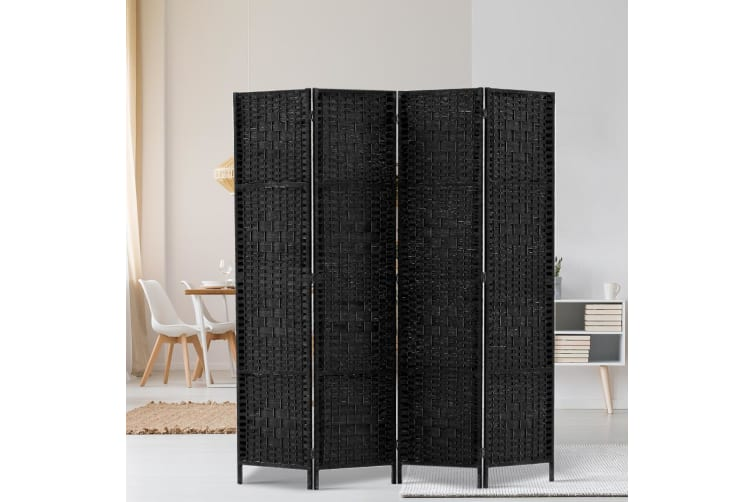 Artiss 4 Panel Room Divider Screen Privacy Rattan Dividers Stand Fold Woven Bk