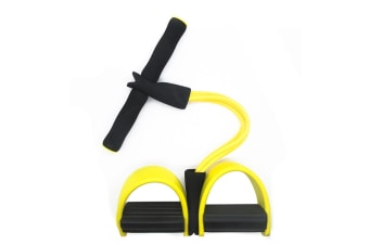 Select Mall Ankle Puller Abdomen Fitness Home Sports Thin Waist Legs Equipment 4 Tube Pedal Pull Rope-Yellow