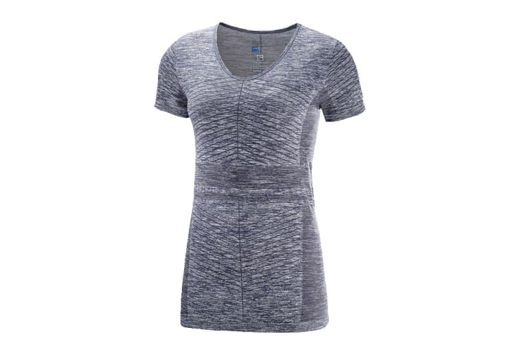 Salomon Elevate Move'On Short Sleeve Tee Women's (Graphite, Size Large)