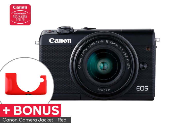Canon EOS M100 Mirrorless Camera with EFM15-45mm ISST Lens (M100KISB) and BONUS Red Camera Jacket