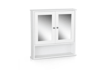 Bathroom Tallboy Storage Cabinet with Mirror (White)