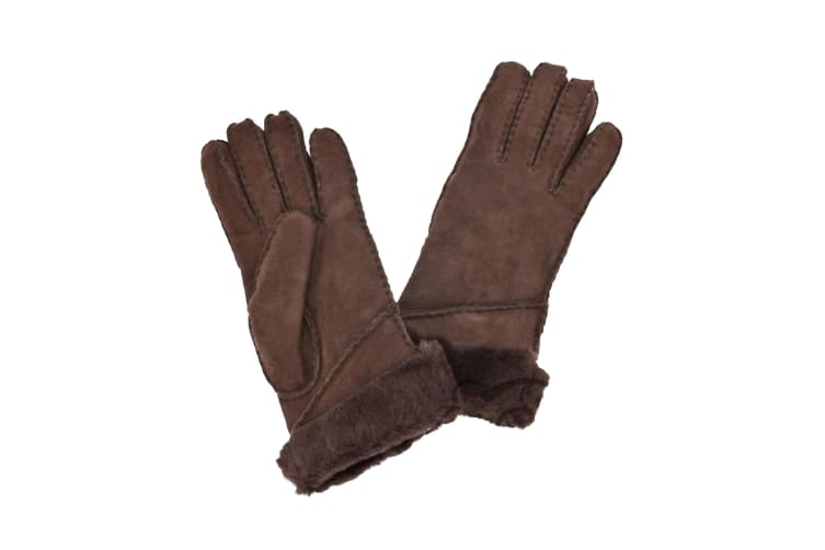 Eastern Counties Leather Womens/Ladies Long Cuff Sheepskin Gloves (Coffee) (M)