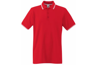 Fruit Of The Loom Mens Tipped Short Sleeve Polo Shirt (Red/White) (XL)
