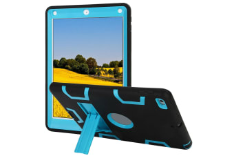 Kids Shockproof Case Heavy Duty Tough Kick Stand Cover For iPad Air 2-Type3-SkyBlueBlack