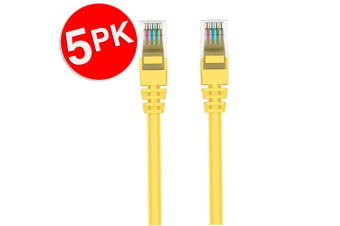 5PK Belkin 2m Yellow CAT6 Network Cable Ethernet Internet RJ45 for PC/Router/LAN