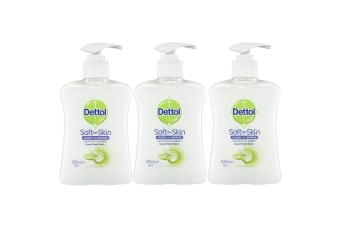 3pc Dettol 250ml Liquid Hand Wash Soap Antibacterial w/ Aloe Vera/Vitamin E/Pump
