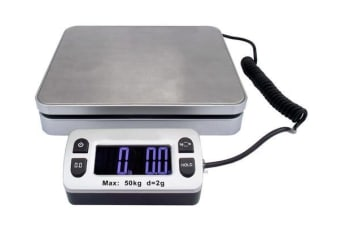50KG Digital Postal Scale Blue LCD Display Stainless Steel Post 2g Graduation