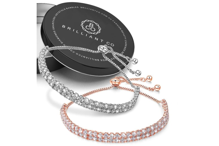 Boxed Two Row Created Diamonds Pull-Tie Tennis Bracelet Set