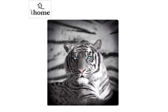 Blue Eyes Stripes Tiger Polar Fleece Throw Rug