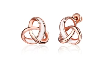 Rose Gold Plated Twist Love Knot Stud Earrings  Y000035