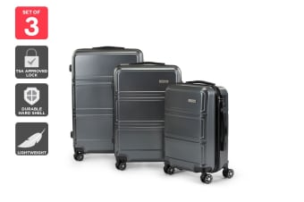 Orbis 3 Piece Kuredu Spinner Luggage Set (Charcoal)