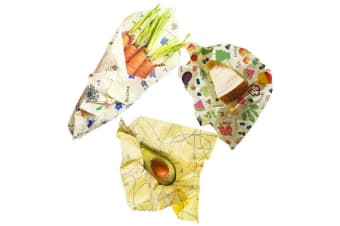3pc Buzzee Organic GOTS Beeswax Reusable Wraps for Herbs Cheese Nuts Assorted