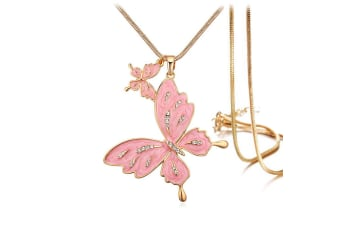 Sweet Butterfly Long Necklace Pink Embellished with Swarovski crystals