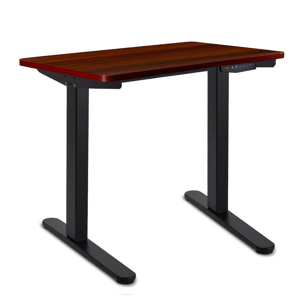 Image of 100CM Motorised Height Adjustable Sit Stand Desk (Walnut/Black)