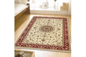 Medallion Runner Rug Ivory with Red Border