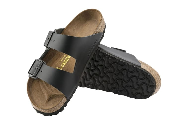 Birkenstock Arizona Natural Leather Regular Fit Sandal (Black, Size 42 EU)