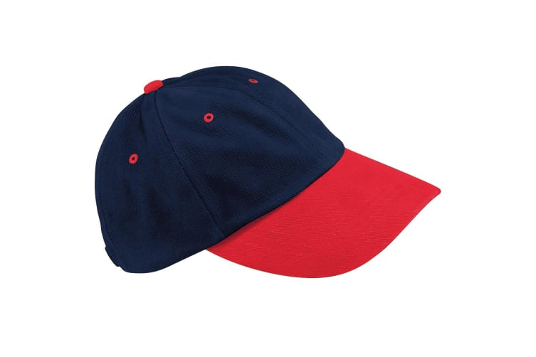 Beechfield Unisex Low Profile Heavy Brushed Cotton Baseball Cap (French Navy/Red) (One Size)