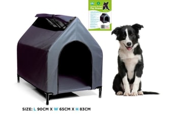 Large Waterproof Pet House Portable Flea Grey Color Dog Bed Puppy Kennel Elevated FD
