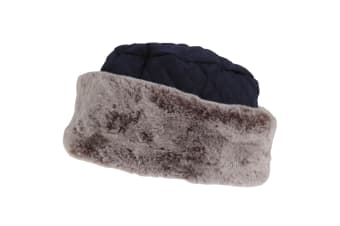 Tom Franks Womens/Ladies Quilted Winter Hat With Faux Fur (Navy/ Grey)