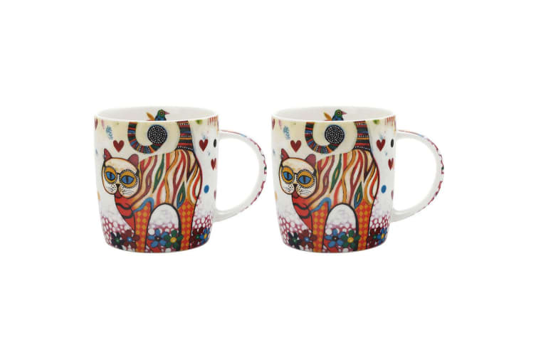 2PK Maxwell & Williams Tabby Smile Style Mug 370ml Cat for Coffee Tea Drink