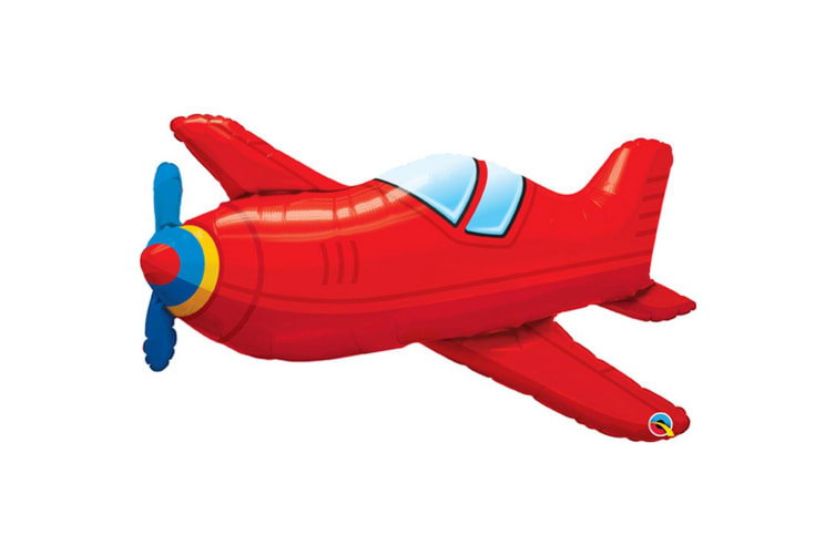 Qualatex Aeroplane Supershape Foil Balloon 3ft (Red) (36in)