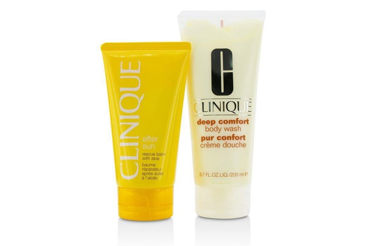 Summer In Clinique Set: Deep Comfort Body Wash 200ml + After Sun Rescue Balm 150ml 2pcs
