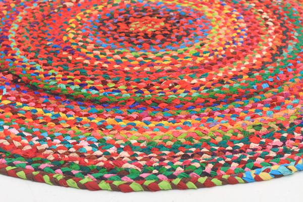 Chandra Braided Cotton Rug Multi 120x120cm