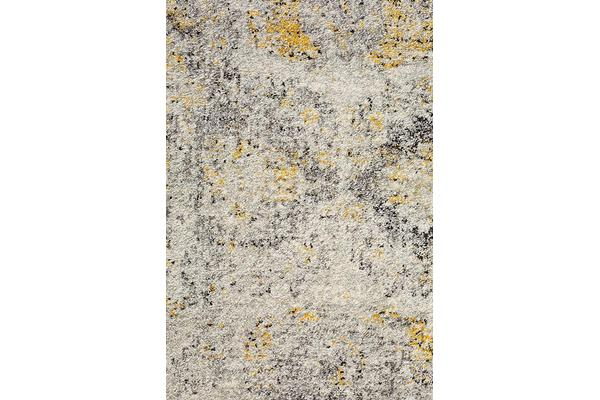 Hazel Yellow & Grey Durable Vintage Look Round Rug 240x240cm
