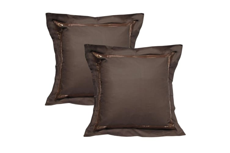 Pair of Sequins Chocolate European Pillowcases 65 x 65 cm by Accessorize