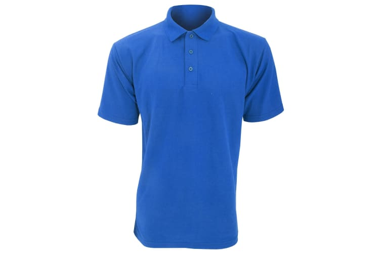 UCC 50/50 Mens Plain Piqué Short Sleeve Polo Shirt (Royal) (4XL)
