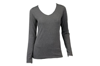 NEW Women's Long Sleeve V Neck Soft Stretch T Shirt Tee Top Basic Plain Colours -Grey Marle