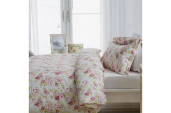 Belledorm Grace Duvet Cover Set (White/Pink) (Superking)