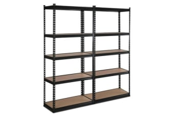 Giantz 5 Tier Industrial Shelving Unit Set of 2 (Black)