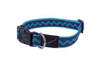 Hemm & Boo Zigzag Adjustable Dog Collar (Blue)