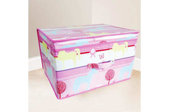 Childrens Girls Pink Horses Design Folding Bedroom Storage Chest (Pink) (One Size)