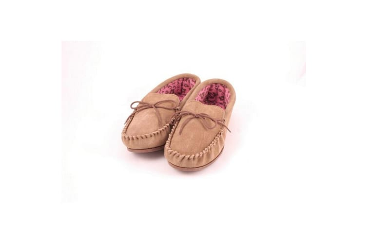 Eastern Counties Leather Womens/Ladies Fabric Lined Moccasins (Camel) (7 UK)