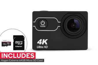 Kogan 4K Action Camera and 64GB Micro SD Card Combo