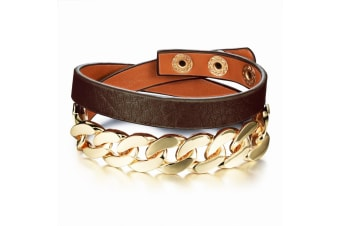 Snake Chain Leather Wrap Bracelet-Leather/Brown