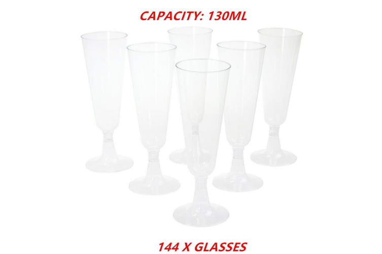 144 x 130ML Clear Plastic Disposable Champagne Wine Glass Flute BPA FREE Cup Glasses